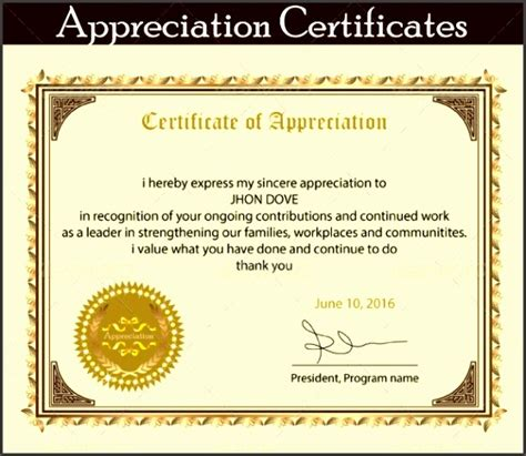 Certificate Of Recognition 6 Free Templates In Pdf Word 8 Printable Certificate Of Appreciation Template