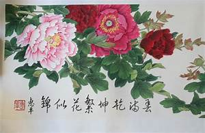Blooming Red Tree Peony Chinese Hand Painted (Long ...