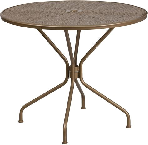 round metal outdoor table 35 25 quot round gold indoor outdoor steel patio table from
