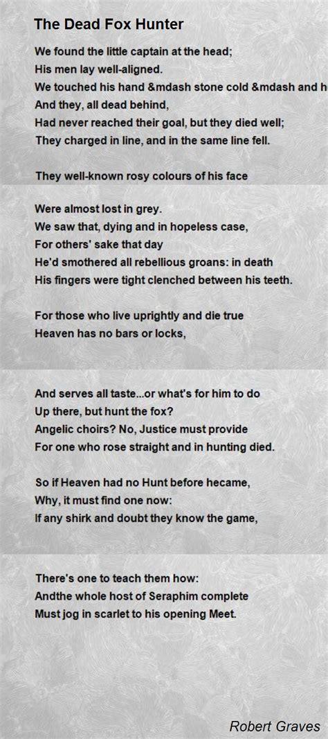 dead fox hunter poem  robert graves poem hunter