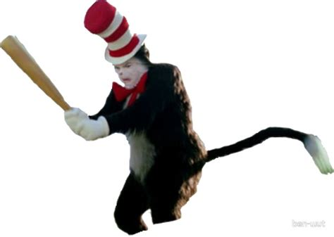 Cat In The Hat Meme - quot cat in the hat baseball bat meme quot stickers by ben wut redbubble