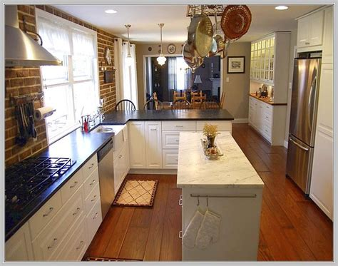narrow kitchen island ideas  pinterest