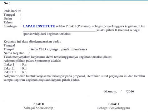 Contoh Surat Undangan Sponsorship by 14 Contoh Surat Perjanjian Kerjasama Terlengkap Yang