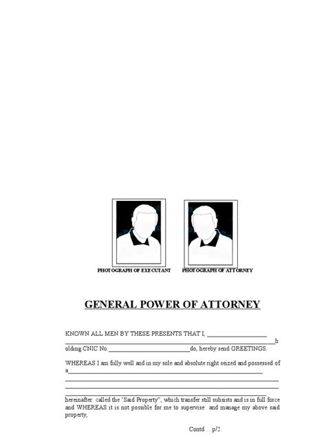 general power  attorney  pakistan sample lease