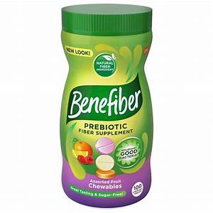Benefiber Prebiotic Assorted Fiber Supplement Chewable Fruit Tablets  Sugar