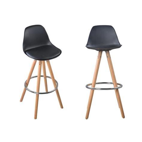 cdiscount chaise de bar nordic lot de 2 tabourets de bar a1 noir bois massif cuir