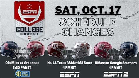 ESPN updates television schedule for SEC football games