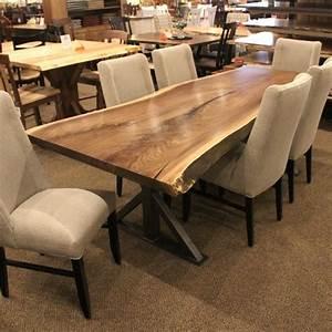 Walnut Live Edge Slab Table Set Solid Hardwood Furniture