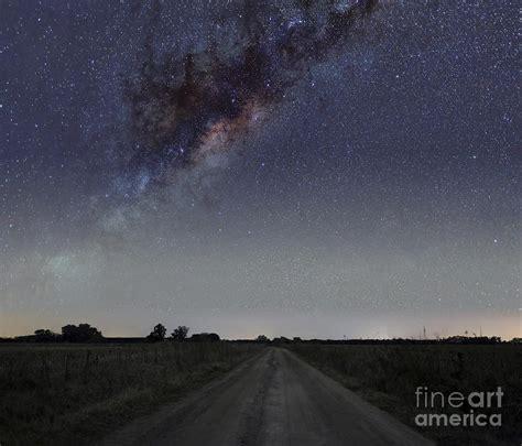 The Milky Way Galaxy Over Rural Road Luis Argerich