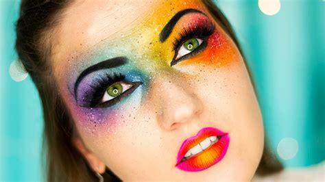 omg neon rainbow makeup bright colors youtube