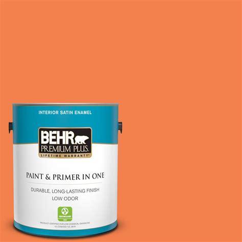 behr premium plus 1 gal 220b 6 harvest pumpkin satin enamel low odor interior paint and primer