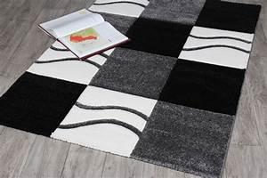 Tapis Blanc Salon : tapis noir blanc ~ Teatrodelosmanantiales.com Idées de Décoration