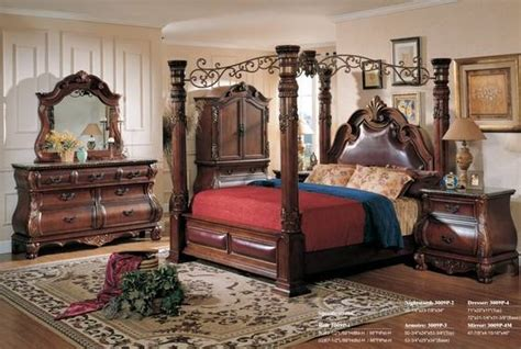 luuxry canopy king bedroom setwood hand carving antique