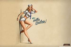 """Hello Sailor!"" Pin-Up Style 4K HD Desktop Wallpaper for ..."