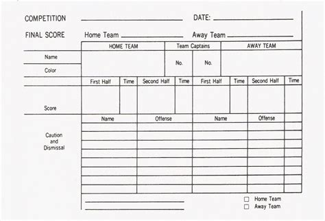 football referee game card template football scorecard