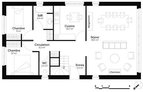 maison 2 chambres plan maison 2 chambres et mezzanine ooreka