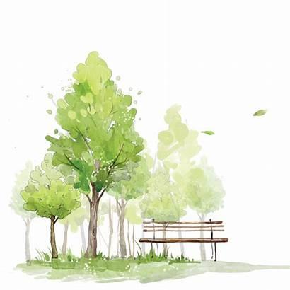 Watercolor Trees Landscape Sketch Watercolour Paint Clipart