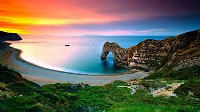 Landscape Sunset Cliff Nature Water Sea Desktop