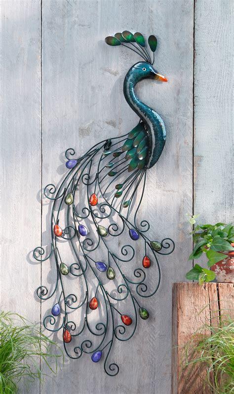 Metall Deko Wand Garten wandh 196 nger pfau aus metall wand deko vogel bild h 196 nger