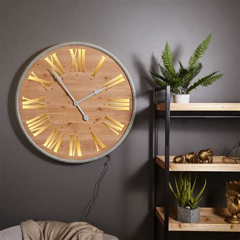 large wall mounted numeral wooden light up wall clock windsor browne