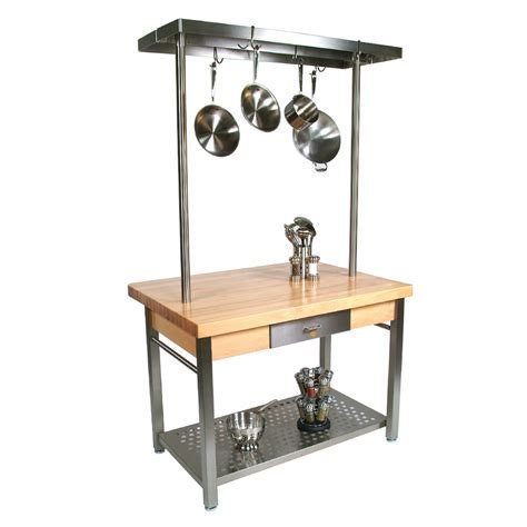 Butcher Block Stainless Steel Kitchen Island   Kitchen