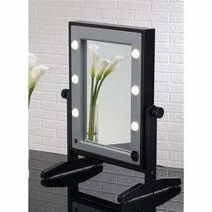 Miroir Lumineux Maquillage : miroir maquillage lumineux de table en bois achat vente miroir salle de bain cdiscount ~ Teatrodelosmanantiales.com Idées de Décoration