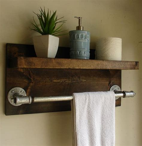 Bathroom Shelf With Towel Bar Wood by Industrial Rustic Modern Bathroom Shelf With 18 Towel By