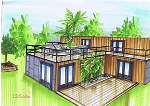 maison container en 1t plans pinterest maisons With plan maison avec patio 17 maison container modulaire ossature bois d architecte