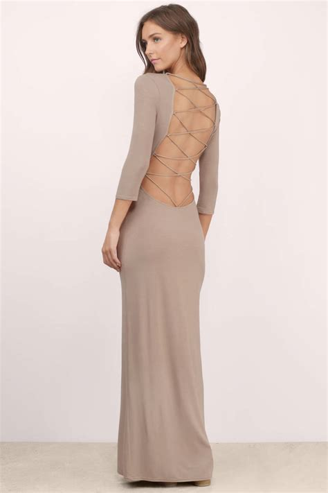 taupe color dress taupe maxi dress scoop neck dress maxi dress