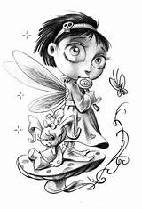 Flash Tattoo Coloring Drawings Pages Fairy sketch template