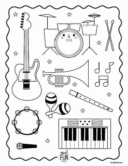 Coloring Pages Instruments Musical Instrument Printable Primary