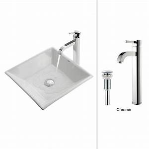 Kraus flat square ceramic vessel sink in white with ramus for Flat bathroom sinks