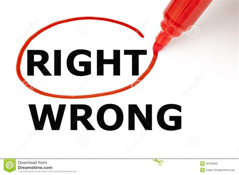 Right Or Wrong With Red Marker Stock Photo