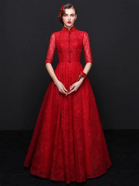 sleeve mandarin collar chinese red lace