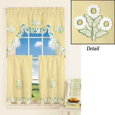 Yellow Embroidered Daisy Cafe Curtain Set from Collections