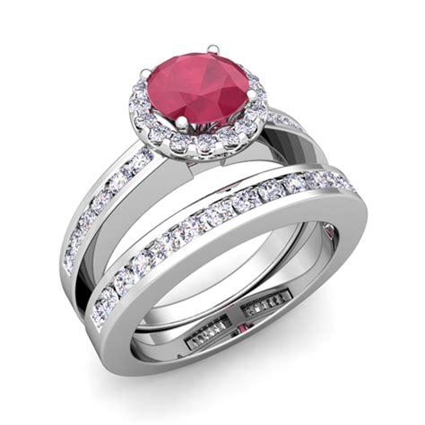bridal ruby halo engagement wedding ring platinum 5mm