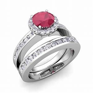 Bridal set diamond ruby halo engagement wedding ring for Wedding rings with rubies and diamonds