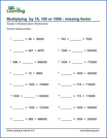 grade 5 worksheets multiplying by 10 100 or 1 000 missing factors k5 learning