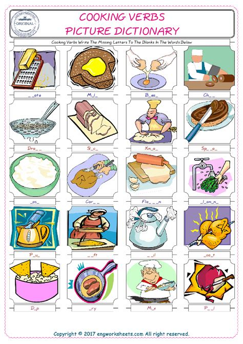 cooking verbs esl printable picture english dictionary