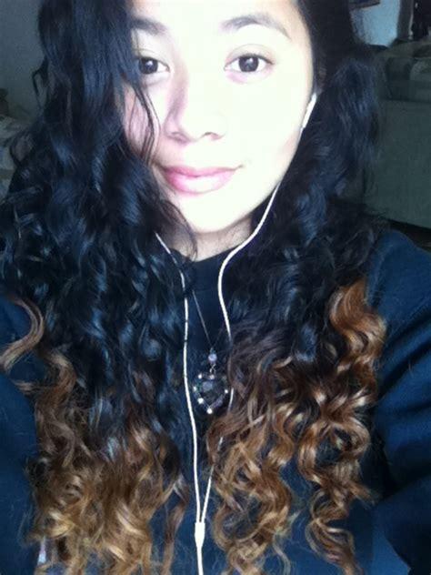 Naturally Curly Black Hair Dip Dyed Caramel Hair Color