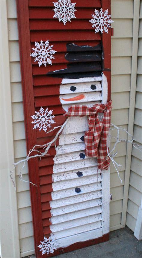 craft shutters frosty the snowman wooden shutter repurpose crafts a la mode