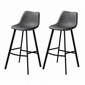 Chaise De Bar Grise : chaise de bar falko grise lot de 2 achetez nos chaises ~ Voncanada.com Idées de Décoration
