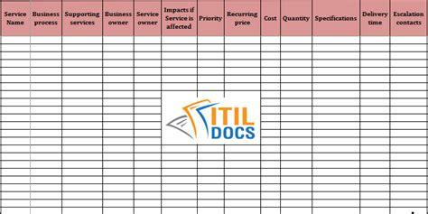 service catalogue template itil service catalog itil docs
