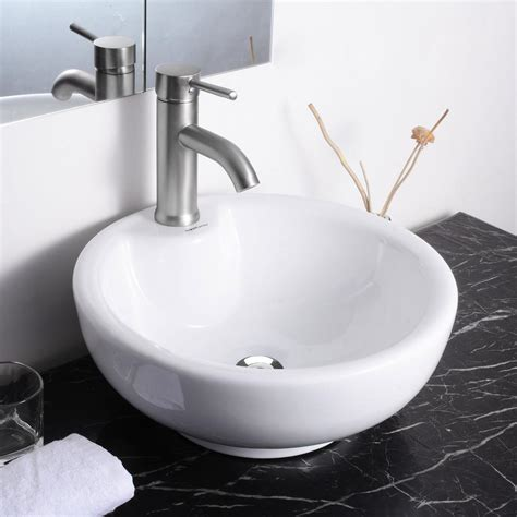 vessel sink with overflow aquaterior porcelain ceramic bathroom vessel sink basin w