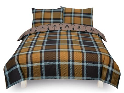 Check Stag Tartan Deer Antlers Bedding Single Double King