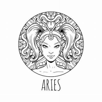 Zodiac Aries Coloring March April Printable Horoscope