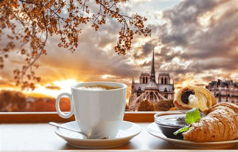 Turn your morning energy boost into a small meal with an unusual twist: Wallpaper Paris, coffee, Breakfast, Paris, cathedral, France, Our Lady, cup, jam, coffee ...