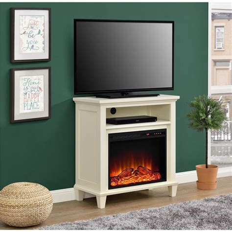 electric fireplace tv stand home depot ameriwood ellington 32 in ivory tv stand with electric