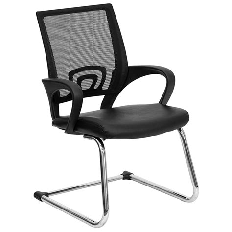 black leather office side chair with black mesh back and