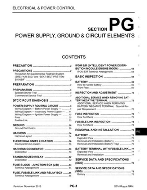 nissan rogue power supply ground circuit